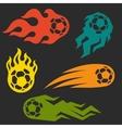 Set of elements fire soccer balls for design vector