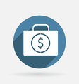 Suitcase with money circle blue icon vector