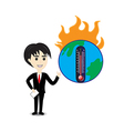 Business man describe about global warming vector