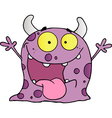 Happy violet monster cartoon character vector