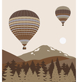 Hot air balloon over forest vector