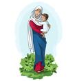 Virgin mary holding baby jesus vector