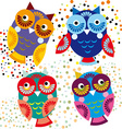 Four bright colorful owls set vector