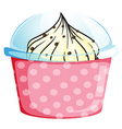 A pink cupcake container with a cupcake vector