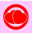 Two red hearts as a traffic sign vector