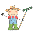 Gardening kid waving a greeting vector