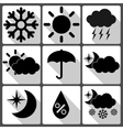 Weather icons on white background with shadows vector