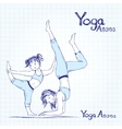 Girl and woman doing yoga poses vector