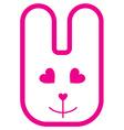 Pink cartoon rabbit with smile vector