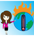 Business woman describe about global warming vector