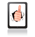Hand with thumb up breaking through touchpad vector