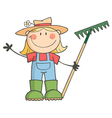 Gardening girl waving a greeting vector