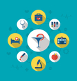 Set trendy flat icons of medical elements and vector