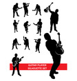 Guitar player silhouette set vector