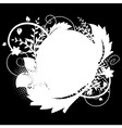 Circle frame with floral decorations 1 on black vector