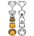Cartoon zoo animals set vector