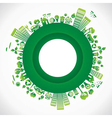 Green city in round style vector