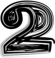 Freehand typography number 2 vector