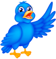 Happy blue bird waving wings vector