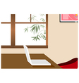 Home office laptop background vector