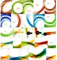 Set of blurred wave abstract backgrounds vector