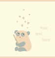 Card with a cute panda in love vector