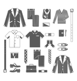 Business man clothes icons set vector