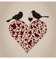 Bird on heart vector