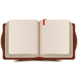 Open book diary with bookmark vector