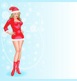 Christmas with a girl in a red hat and s vector