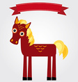 Funny brown horse on a white background vintage vector