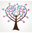 Abstract heart shape hand tree vector