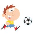 Soccer boy with ball vector