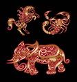 Golden animal horse scorpion elephant vector