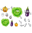 Cabbage pepper and eggplant vegetables vector