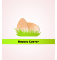 Happy easter with eggs in grass vector