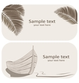 Wooden boat and palm leaves business cards set on vector