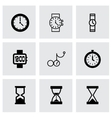 Black clock icon set vector