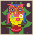 Cartoon owl night meditation vector