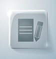Glass square icon with highlights sheet of paper vector