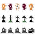 Halloween graveyard icons set - coffin cross gr vector