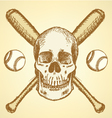 Baseball bat ball scull vector