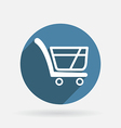 Cart online store circle blue icon with shadow vector