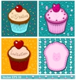 Set of cake cards template vector