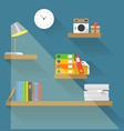 Different objects on book shelves vector