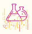 Glass flask on abstract colorful geometric light vector