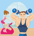 Man and woman exercises in the gym vector