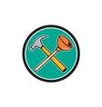 Crossed hammer plunger circle cartoon vector