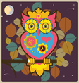 Cartoon owl big pink queen vector