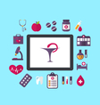 Set flat icons of objects medicine and chemical vector